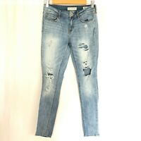 Bullhead Denim Co Womens Jeans Skinniest Low Rise Distressed Light Wash Size 5