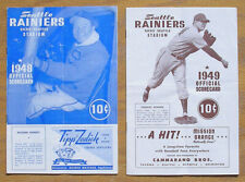 Lot of 2 1940's Seattle Rainiers PCL Baseball Programs, Seals & Angels, Vintage