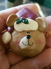 Adorable Thick Resin Santa Bear Pin Brooch Christmas