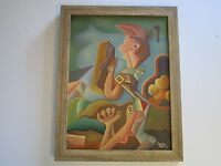 CONTEMPORARY PAINTING ABSTRACT CUBIST CUBISM EXPRESSIONISM SIGNED ILLEGIBLY