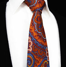 Sale Mens Tie Red Orange Blue Floral Paisley Gift Wedding Necktie Silk