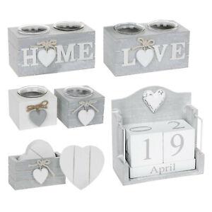 Provence Tea Light Holder Grey Set 6 Coasters Grey Wooden Calender Home Love
