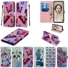 Para Samsung 10 S10 A80 Bling Glitter Note Cuero Billetera De pie Cubierta Estuche de tarjeta