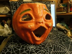 Vintage Paper Mache Jack O Lantern Pumpkin Double Sided, 2 Face Halloween 7 1/2