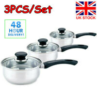 Set of 3 Stainless Steel Cookware Saucepans with Lids Cooking Food Frying Pan UK
