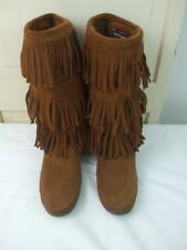 Minnetonka Brown Moccasin 3 Layer Fringe Boots Hard Rubber Sole Style 1632 Sz- 9
