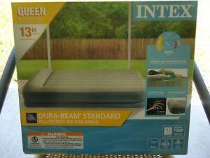 Intex Queen Dura-Beam Standard Pillow Rest Raised Airbed Built-in Pillow + Pump
