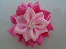 4 applique fleur satin  40mm rose ,scrapbooking.
