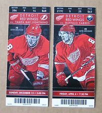 Red Wings Justin Abdelkader Game ticket stub Pair vs Lightning & Sabres