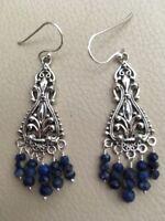 Natural Blue Lapis Lazuli Sterling Silver Chandelier Statement Earrings