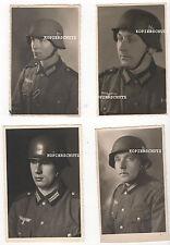 4 original Portrait fotos WH soldados con casco de acero modelo 36/42 2. WK (2)