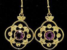 E051- Beautiful Genuine 9K 9ct SOLID Gold NATURAL  Amethyst & Diamond EARRINGS