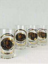 "Vintage set 4 Gold Black 5"" Highball Cocktail Glasses Globe American Van Lines"