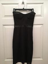 NWT Blaque Label Women's Strapless Mesh Corset Leather Trim Black Dress XS