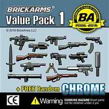 BRICKARMS Value Pack #1 Weapon Pack w/ Random CHROME for  Minifigures NEW