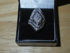 Diamond Dinner Ring - Sterling Silver 925 - Size 6 1/2 - New