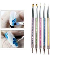 5x Nail Art Brushes -Double-Ended Brush Dotting Tools Elegant 2021 Nail Hot J0Z7