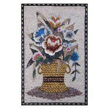 Flowers in Modern Basket Handmade Marble Natural Stone Fine Mosaic Wall Art