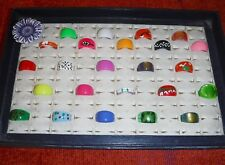 COOL WHOLESALE VINTAGE COLLECTION 25 LUCITE RINGS FUNKY GROUP O MIXED SIZES