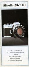 Minolta SR-T 101 fotocamera reflex TTL 35mm depliant anni '70 italiano