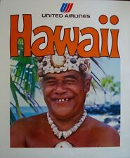 UNITED AIRLINES HAWAII Vintage Travel poster 1976 SMILING ELDER 23x28 Mint
