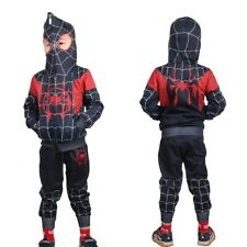 Kids Miles Morales Spider-Man Into the Spider-Verse Cosplay Costume Hoodie+Pants