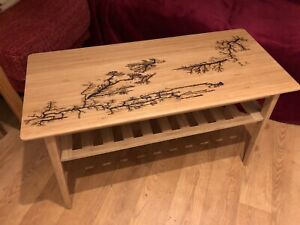 Bamboo Coffee Table With Unique Fractal Burnt Patterns