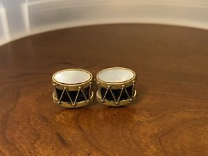 Vintage Mother of Pearl Gold Tone Cufflinks Snare Drum