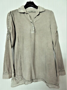 ausgefallene BOTTEGA Stretch Long Bluse Gr. M / 40-42 braun