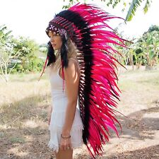 INDIAN HEADDRESS AMAZING RED FEATHERS Chief War bonnet Costume Native American