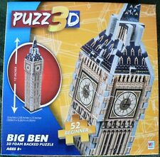 PUZZ 3D FOAM BACKED MINI MILTON BRADLEY BIG BEN CLOCK TOWER PUZZLE NEW 52 PCS