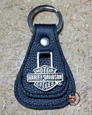 Harley Davidson® B&S Medallion Teardrop Key Fob Key Chain Black Leather