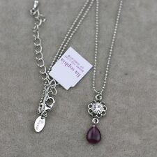 pendant short cut crystal necklace chain Nwt lia sophia jewelry silver tone opal
