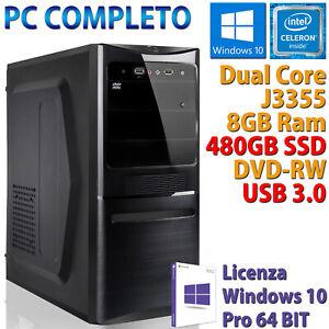 PC COMPUTER DESKTOP ASSEMBLATO INTEL DUAL CORE RAM 8GB SSD 480GB DVD-RW WIN 10