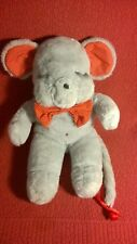 """Vintage 20"""" MS Noah GRAY MOUSE WITH RED EARS BOWTIE plush stuffed animal toy"""