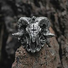 Unique Punk Gothic Satanic Demon Sorath Skull Ring Men 316 Stainless Steel Biker