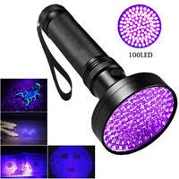 UV 100 Leds Flashlight 395nm Ultra Violet Torch Light Lamps Blacklight Detect fw