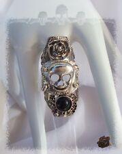 Bague Armure Tête de Mort Sculpture Fleur Perle Jade Noir Métal Argenté T50_51