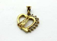 Sterling Silver .925 Classic Gold Overlay MOM Heart Cubic Zirconia Pendant #5556