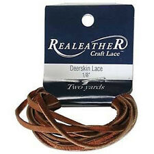 """2 Yds. Deerskin Saddletan Leather Lace 1/8"""" Craft and Jewelry Beading Cord"""