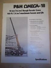 Vtg Harnischfeger Sales Brochure~ P&H Omega 18 Crane~Catalog
