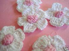 "50 Crochet Daisy 1"" Flower Applique Pink Center/yarn/sewing/trim/Knit C6-White"