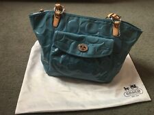 Coach New Blue Patent Leather Tote Bag
