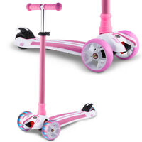 Kids 3 Wheels Scooter with LED Light Up Wheels Adjustable Height Kick Scooter
