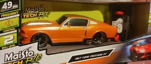 ✅Maisto Tech R/C Orange+Silver Stripes 1967 Ford Mustang GT 49 MHz 1:24 SS
