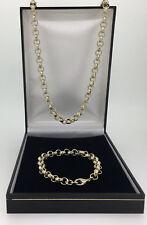 Mens Luxury 18k GF  Belcher Chain Necklace Bracelet  8-16mm Heavy Links 18ct