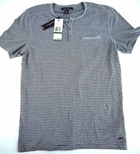 NWT KENNETH COLE mens L slim fit striped henley t shirt gray NEW WITH TAGS