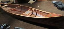 Rare Vintage Custom Made Zoe Cedar Strip Canoe 18' Two Person Net Seats Oar