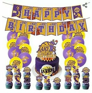 Lakers Kobe Birthday Party Decorations Cupcake Toppers Balloons Banner