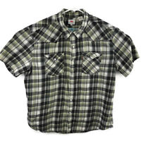 Levis Mens XXL Green Plaid Western Pearl Snap S/S Flannel Shirt Cotton
